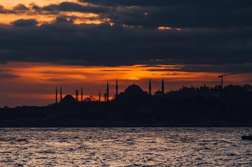 イスタンブール, オレンジ色の空, シルエットの無料の写真素材