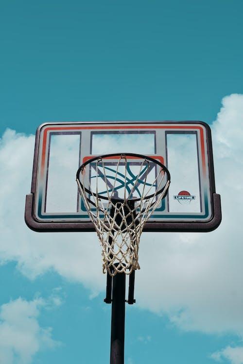 Low Angle Shot of a Basketball Hoop