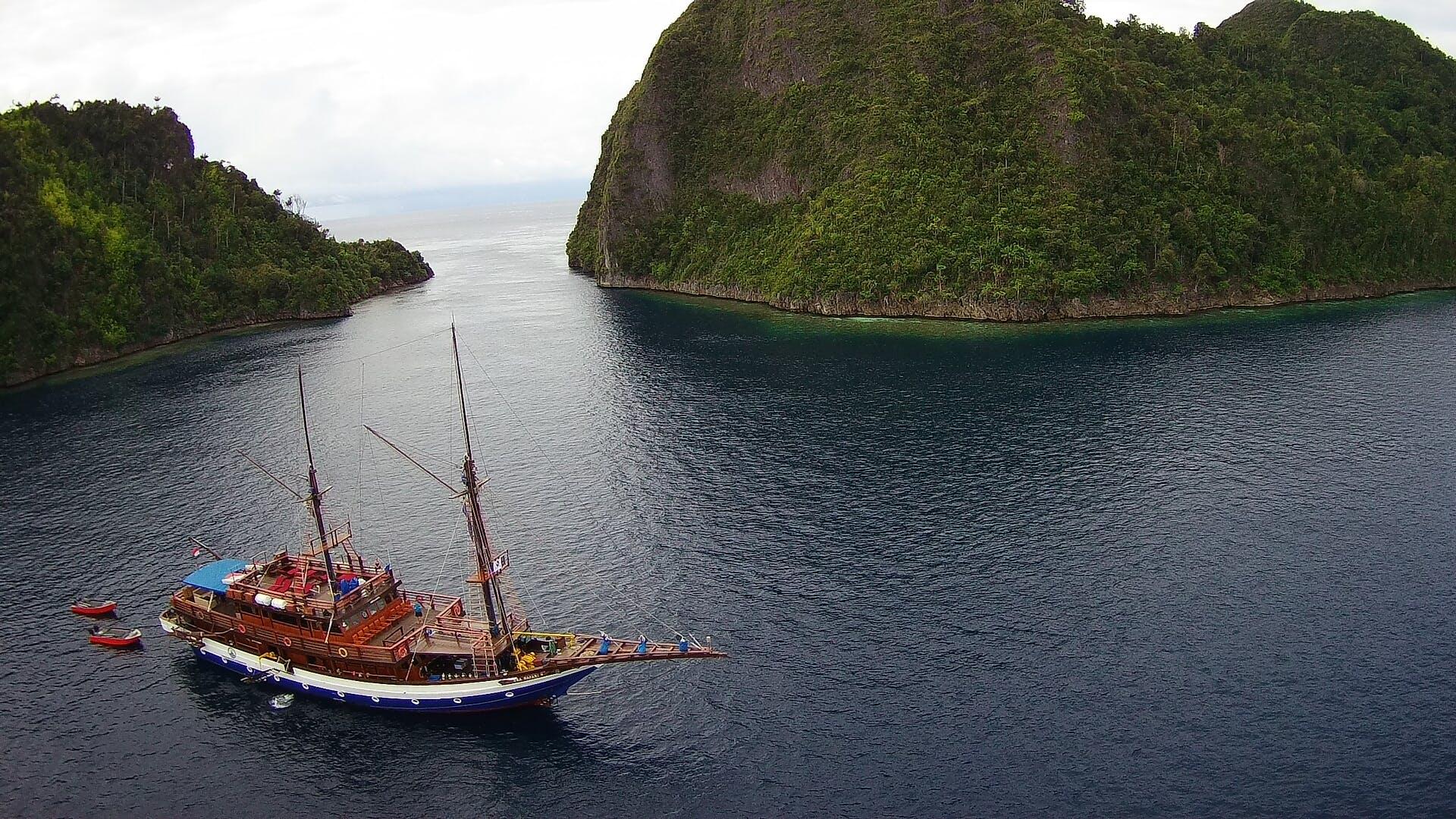 drónkamera, festői, hajó