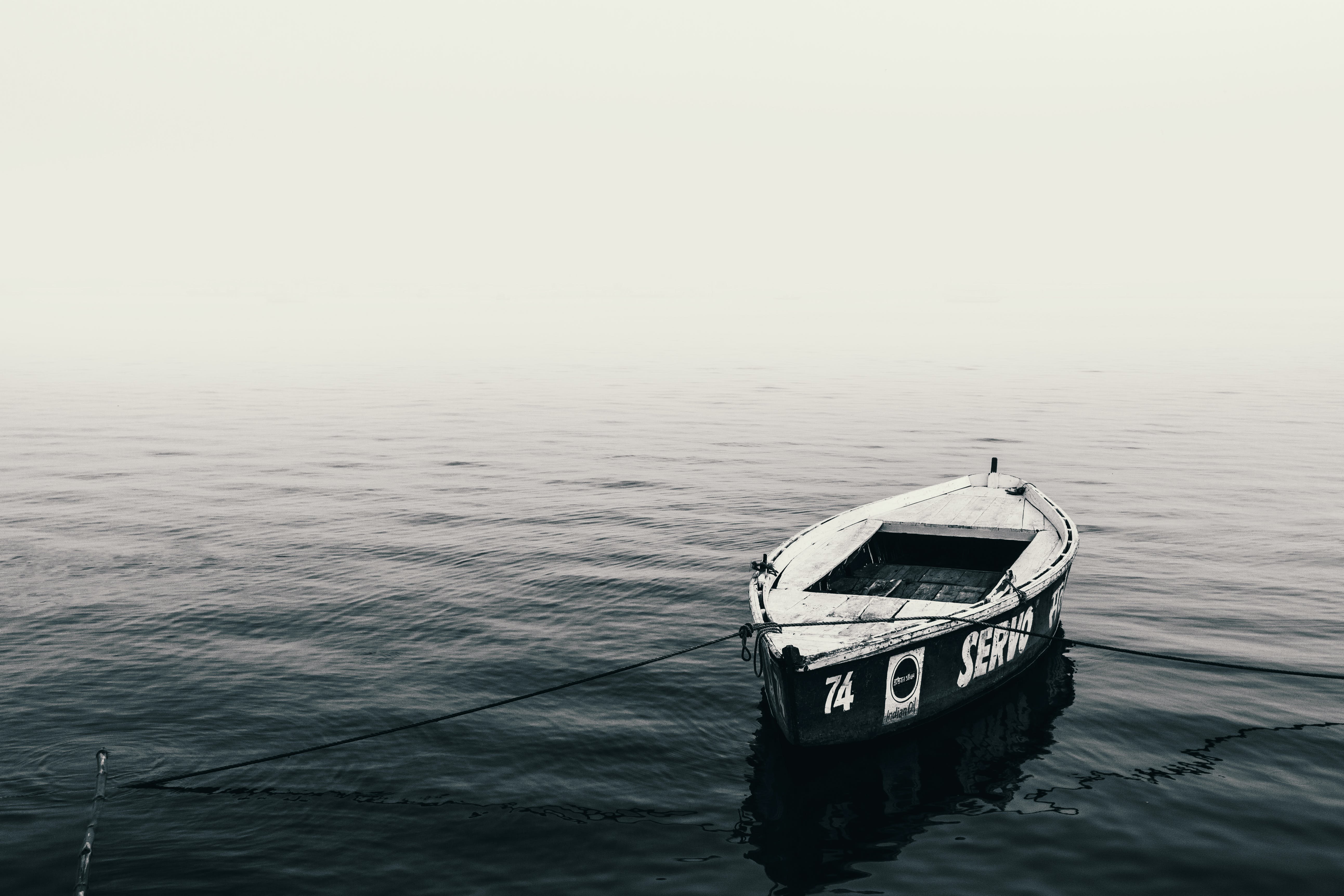 Free stock photo of black, black and white, boat, calm waters