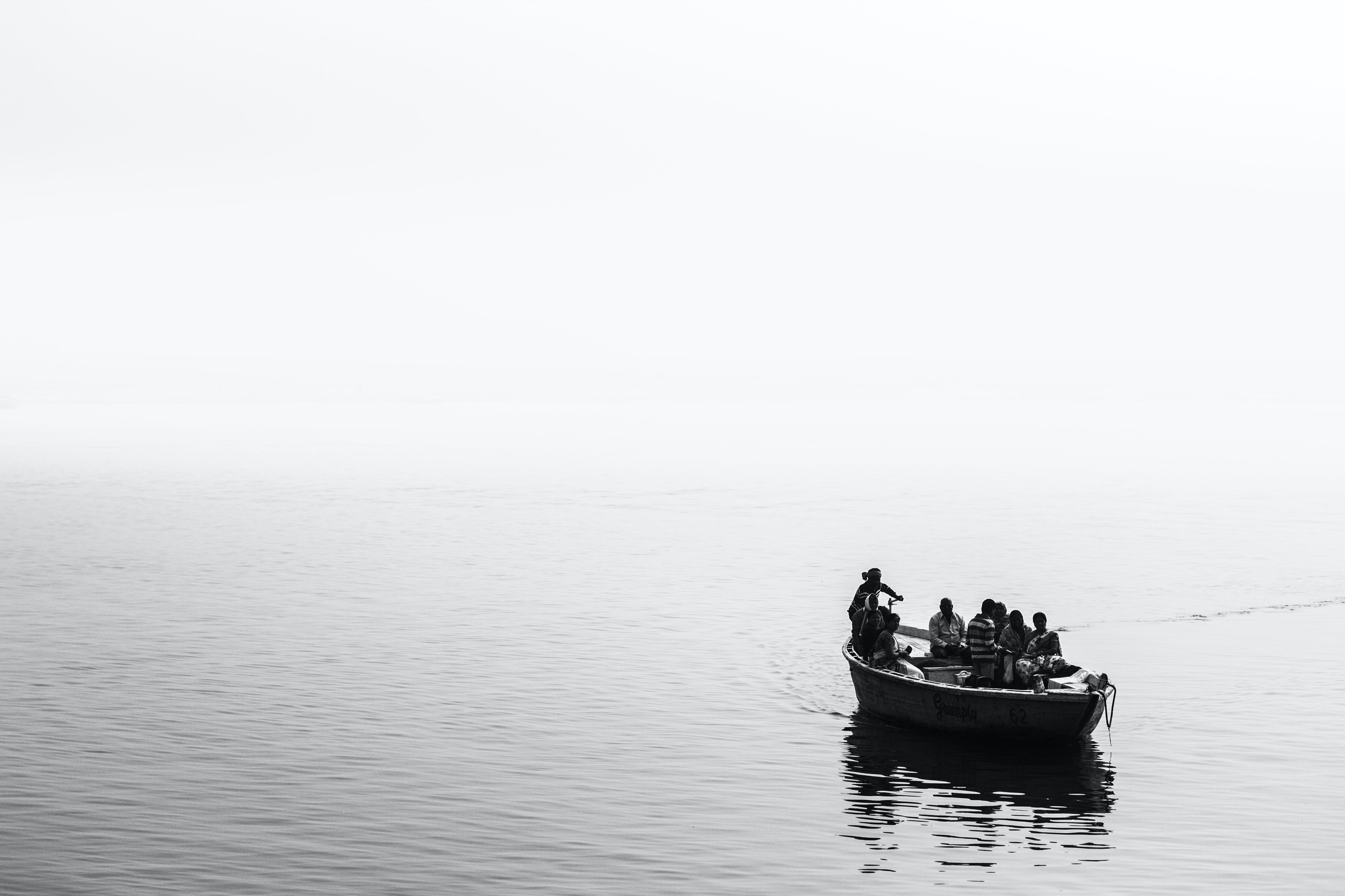 Free stock photo of black and white, boat, calm waters, india