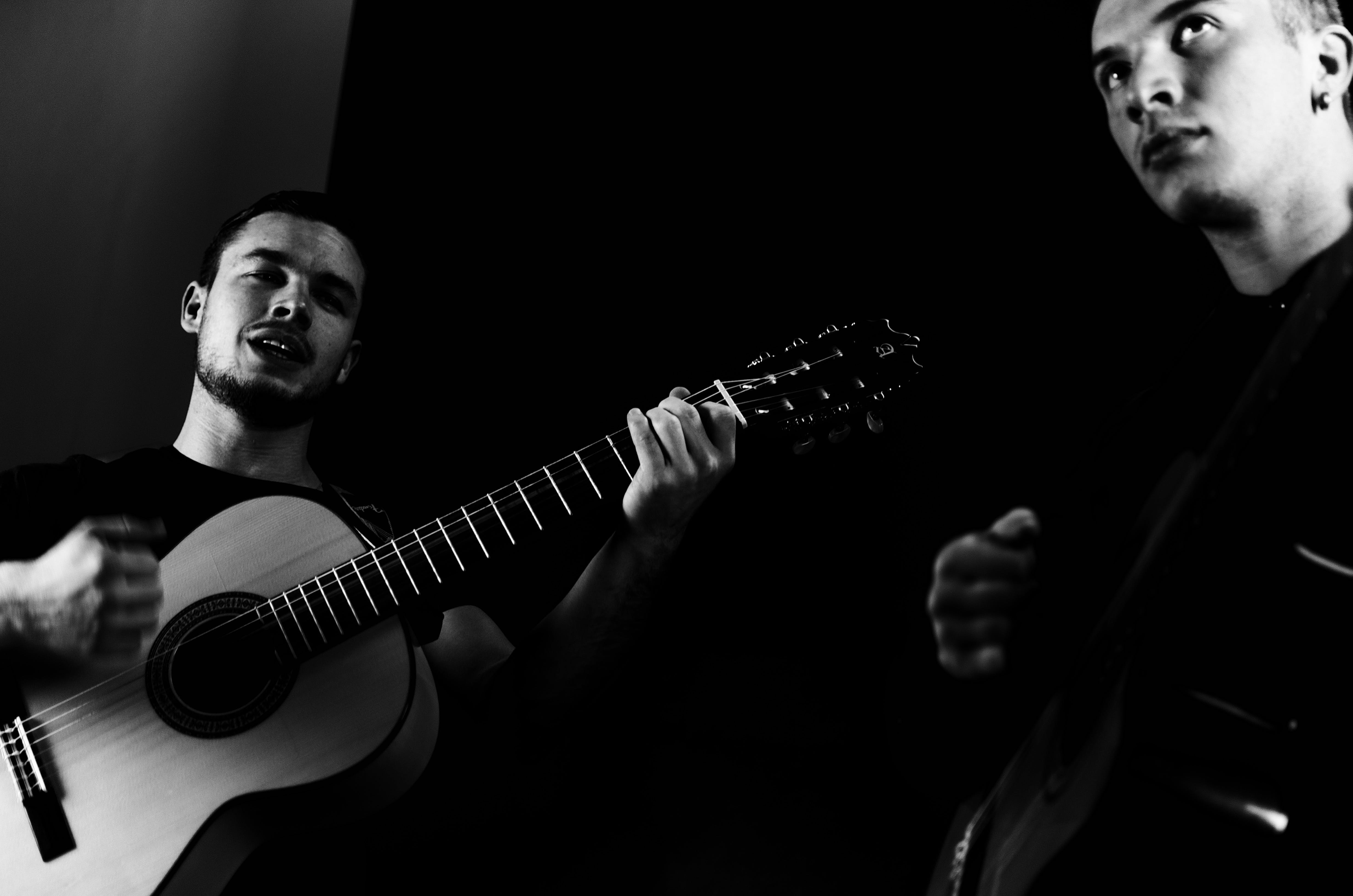 Free stock photo of acoustic guitar, black and white, monochrome, music
