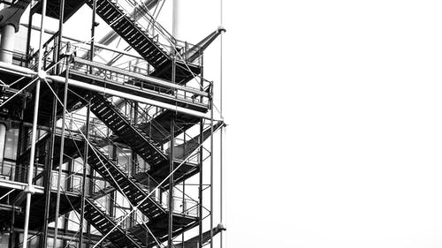 Scaffolding in Grayscale Photo