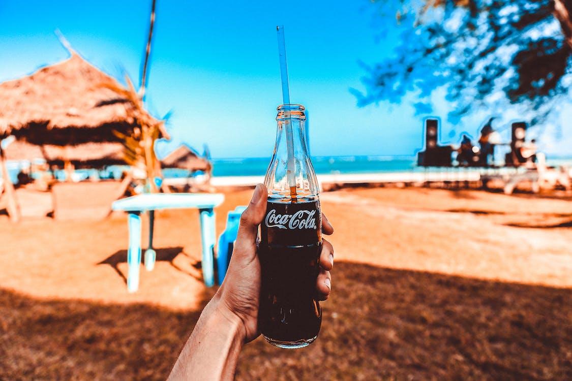 бутылка, вода, голубой
