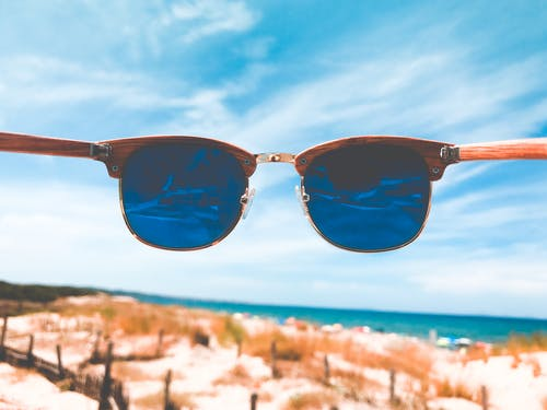 Blue Tint Clubmaster Sunglasses With Brown Frame
