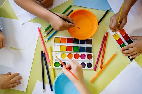 Art Materials On Table