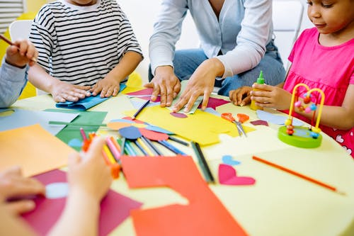 Children Doing Activity In Art and Crafts