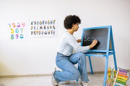 A Woman Writing on a Blackboard
