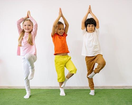 Active Children Doing Balancing Exercises
