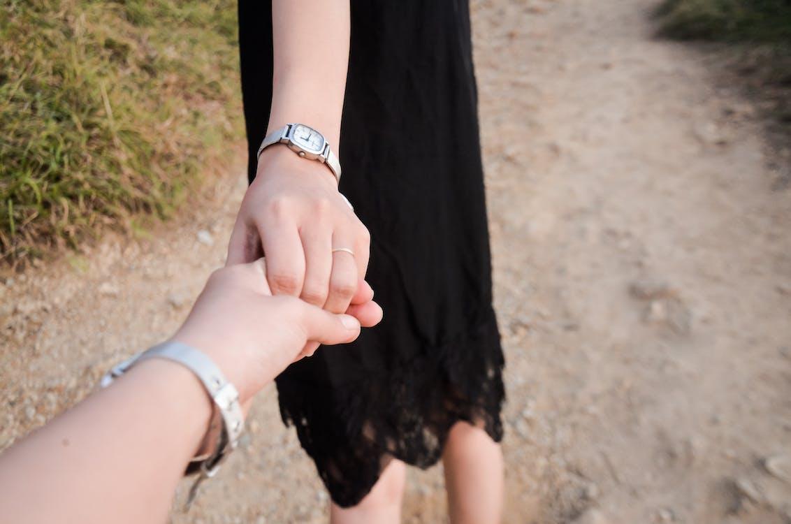achterlaten, hand, meisjes