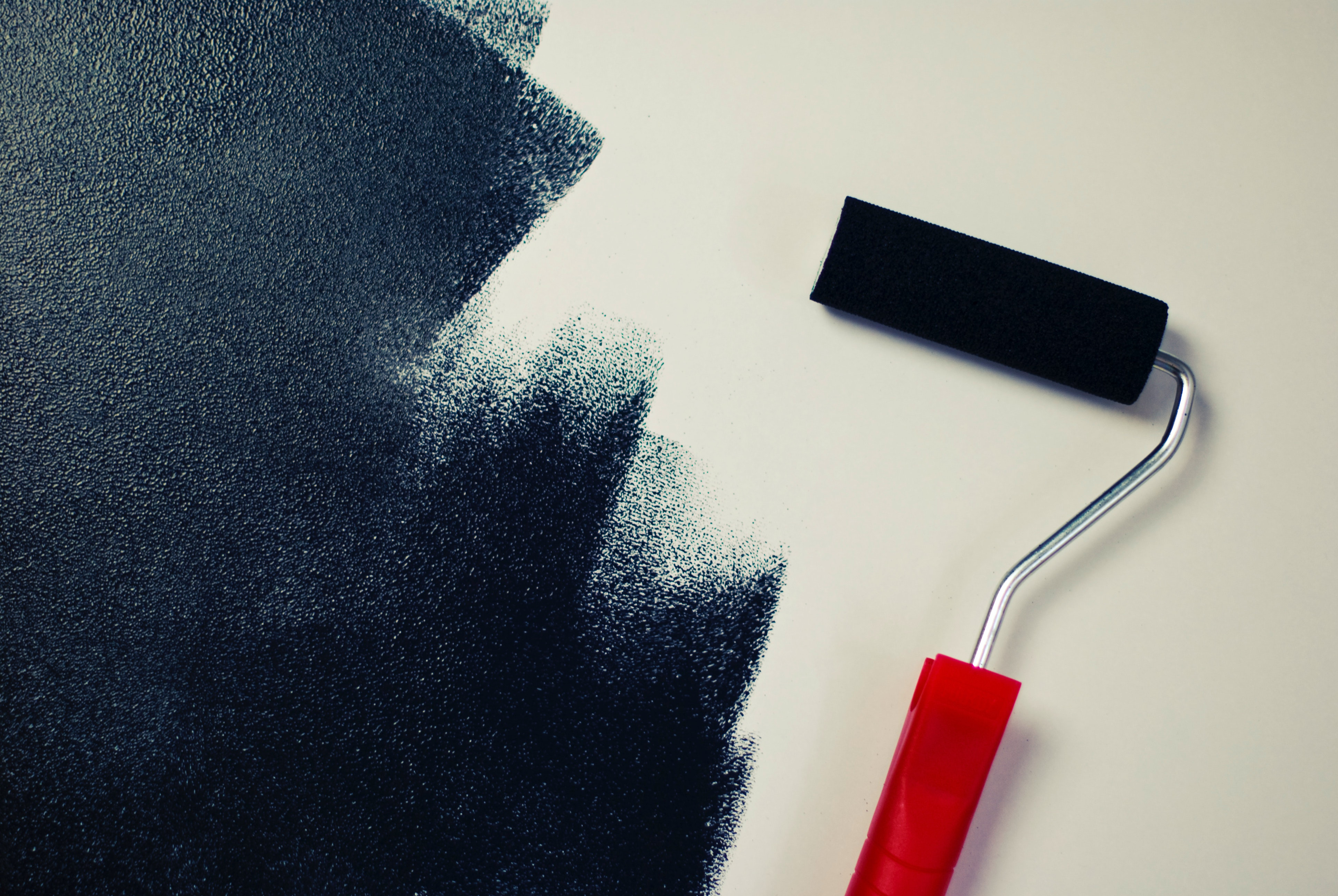 Red Handle Roller Paint Brush Free Stock Photo