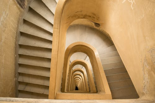 High Angle Shot of a Spiral Staircase