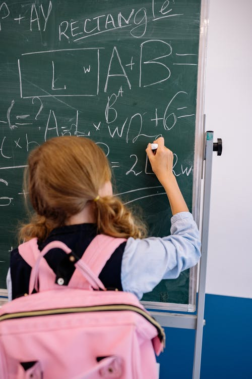 A Girl Writing on a Blackboard