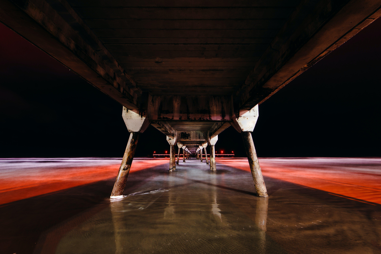 Free stock photo of bridge, long exposure, night photography, ocean