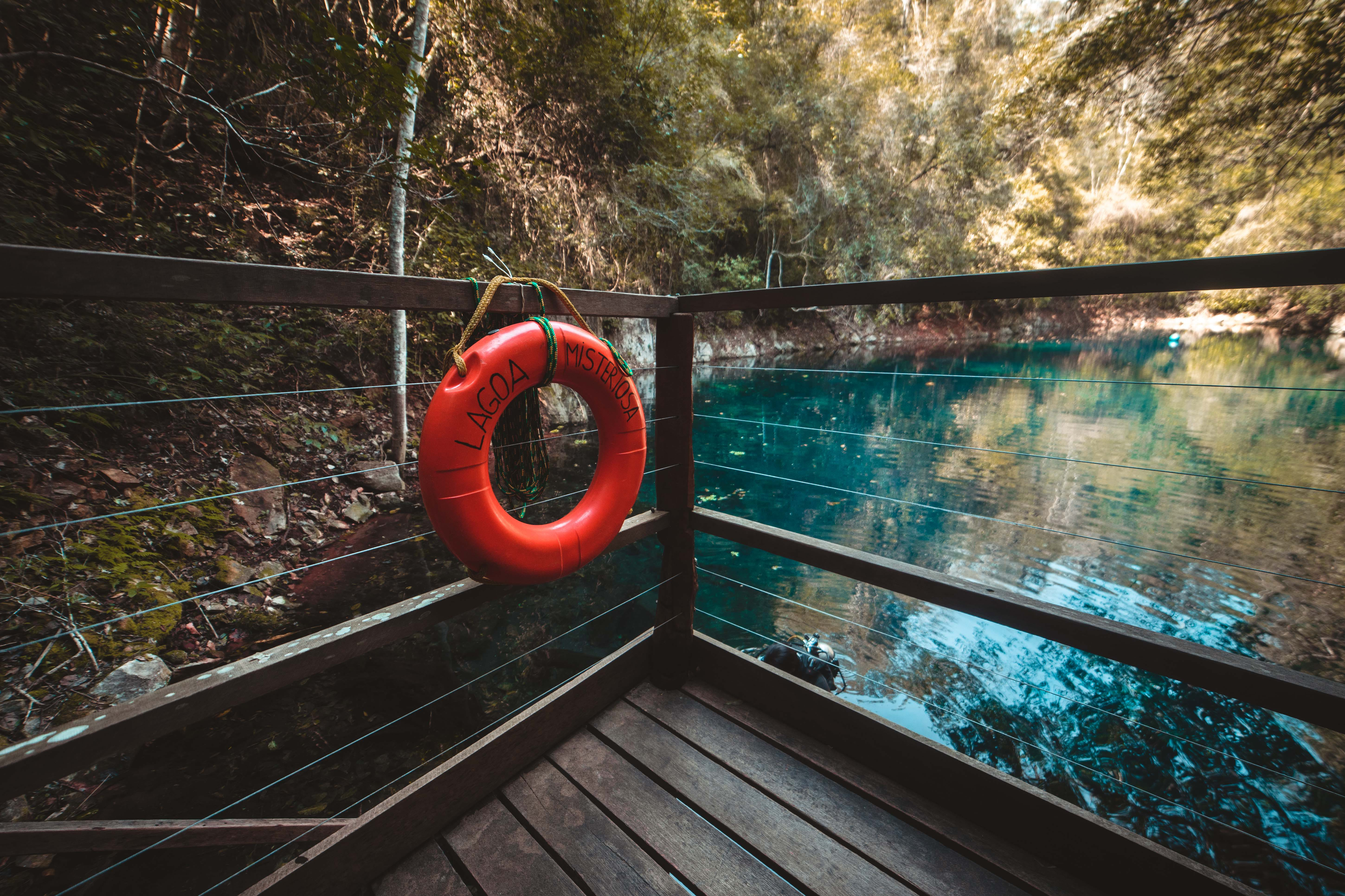 Red Life Buoy Hanging on Brown Wooden Balcony