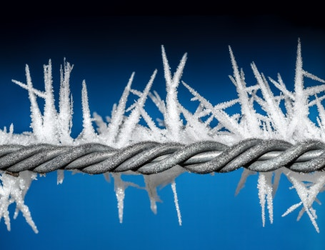 Closeup Photo of Barbwire With Icicles