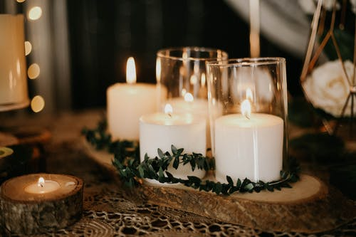 Close-Up Shot of Lighted Candles