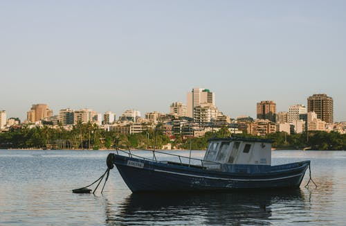 A Docked Boat and a Scenic Skyline