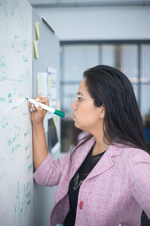 A Woman in Purple Coat Writing on the Whiteboard
