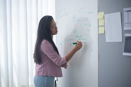A Woman in Pink Coat Writing on the Board Using a Marker
