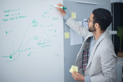 Man in Gray Suit Jacket Writing on the Whiteboard