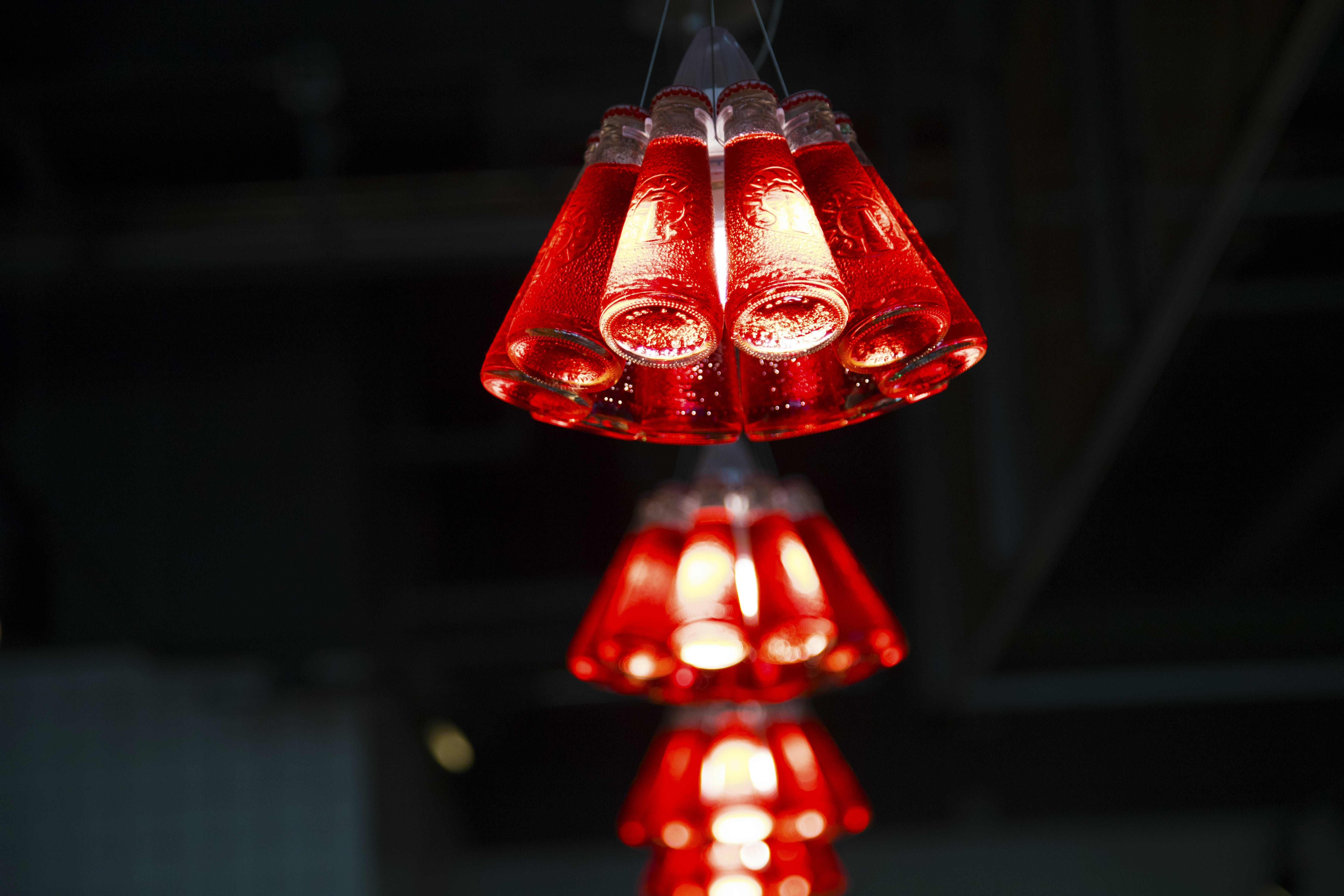 Macro Photography of Red Chandelier