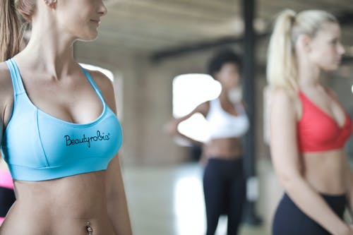 Woman Wearing Blue Beautyrobic Gym Top