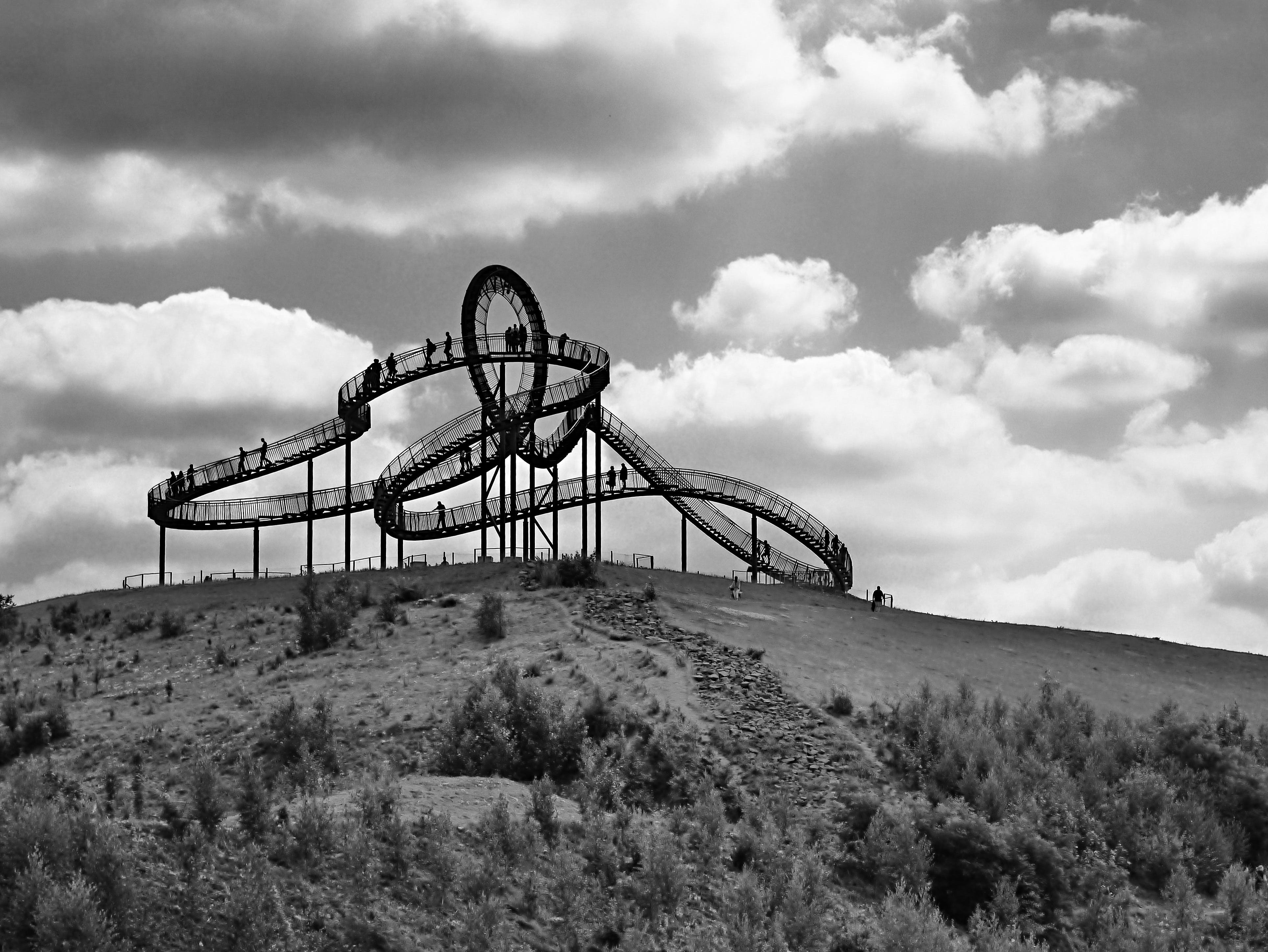 Black Roller Coaster in Grey Scale Photography
