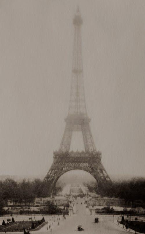 Eiffel Tower in Paris France On A Foggy Day