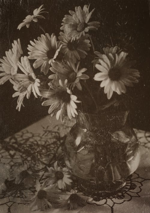 Greyscale Photo of Flowers in Clear Glass Vase