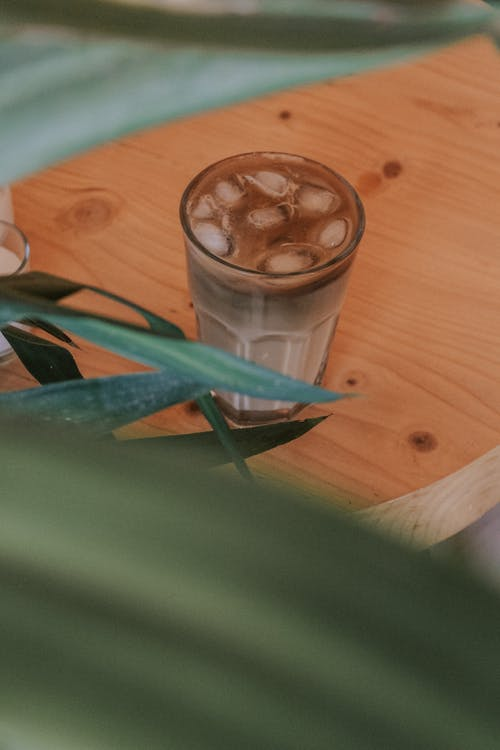 From above of glass of coffee with ice placed on wooden table near green plant