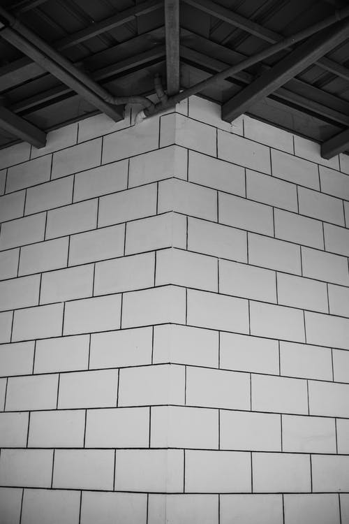 Grayscale Photo of a Brick Wall