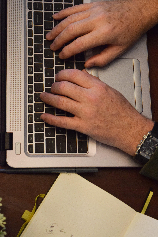 Free stock photo of computer, journal, laptop, type