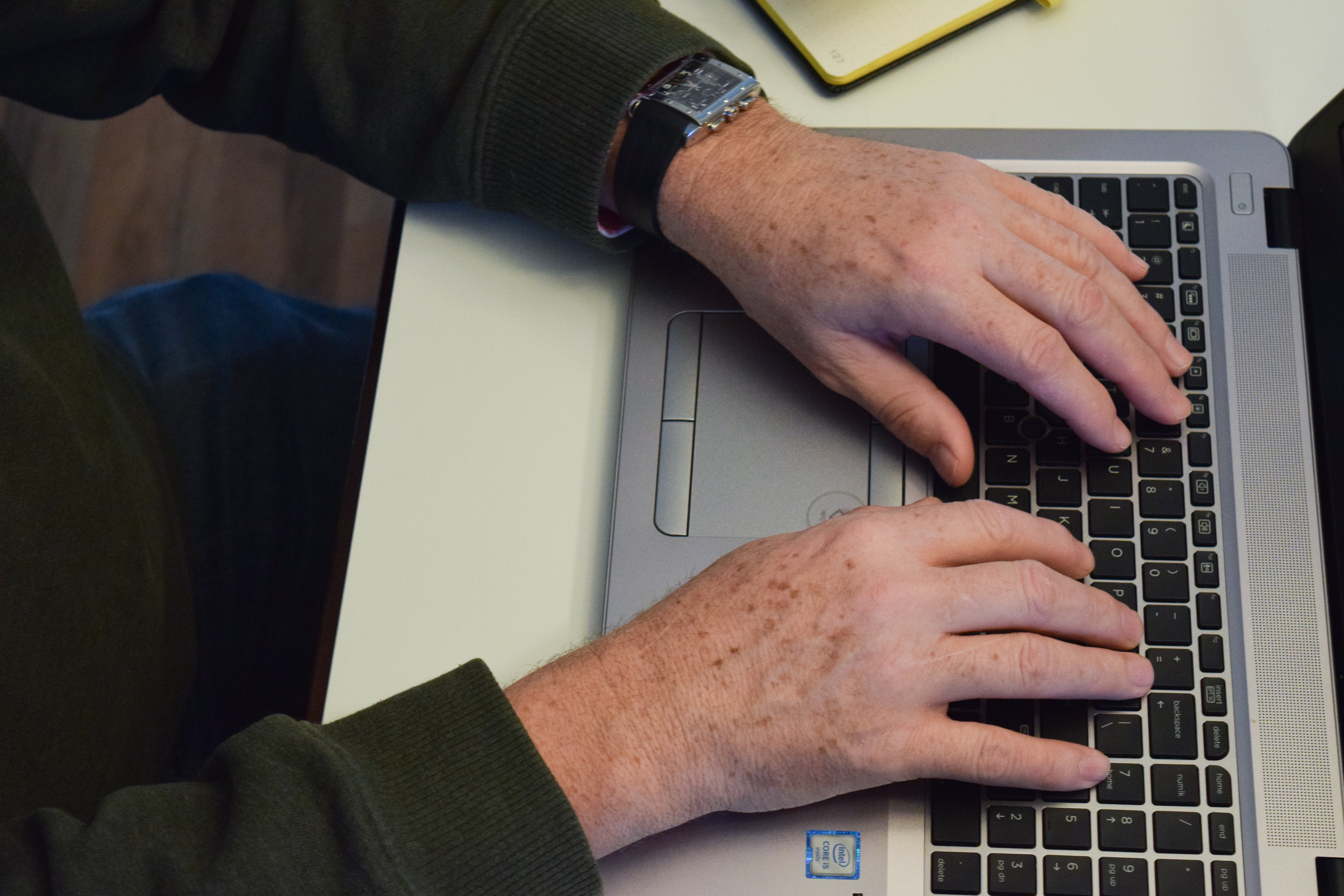 Free stock photo of computer, desk, hands, home office