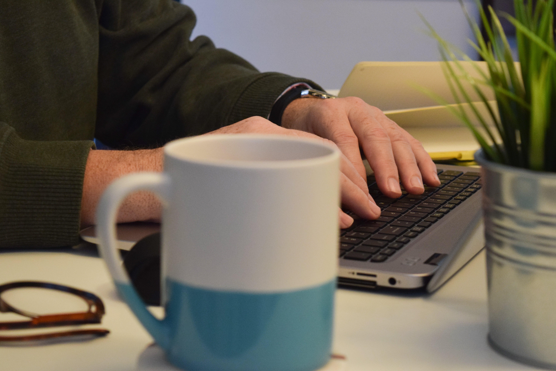 Free stock photo of coffee, cup, mug, desk