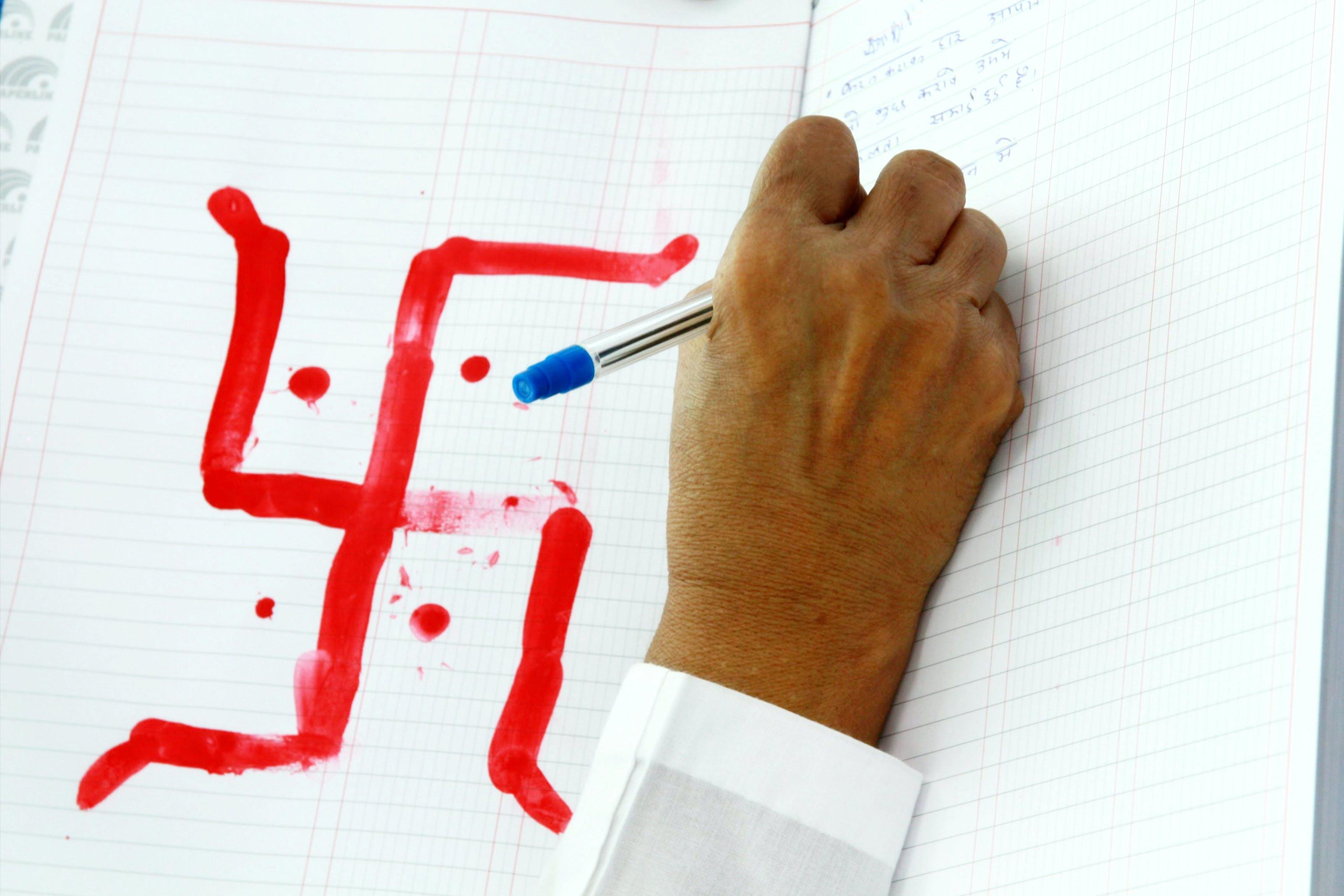Free stock photo of ballpen, hand, notebook, pen