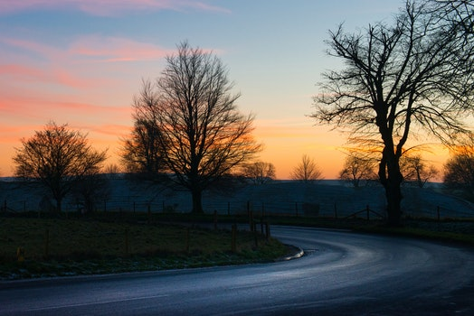 Free stock photo of road, sunset, curve, afternoon