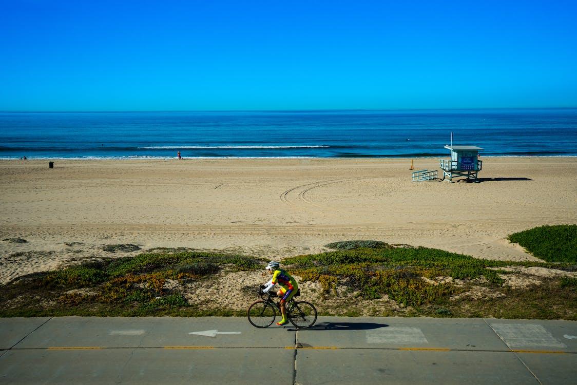 čisté nebe, jízda na kole, oceán