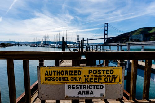 Free stock photo of authorized personnel only, boats, gate