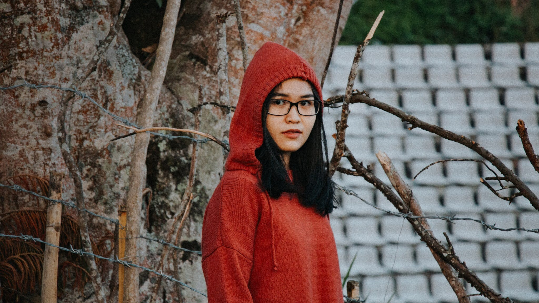 Woman In Red Pullover Hooded Jacket