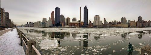 คลังภาพถ่ายฟรี ของ นิวยอร์กซิตี้, ภูมิทัศน์ฤดูหนาว, มุมมองแบบพาโนรามา, แม่น้ำตะวันออก