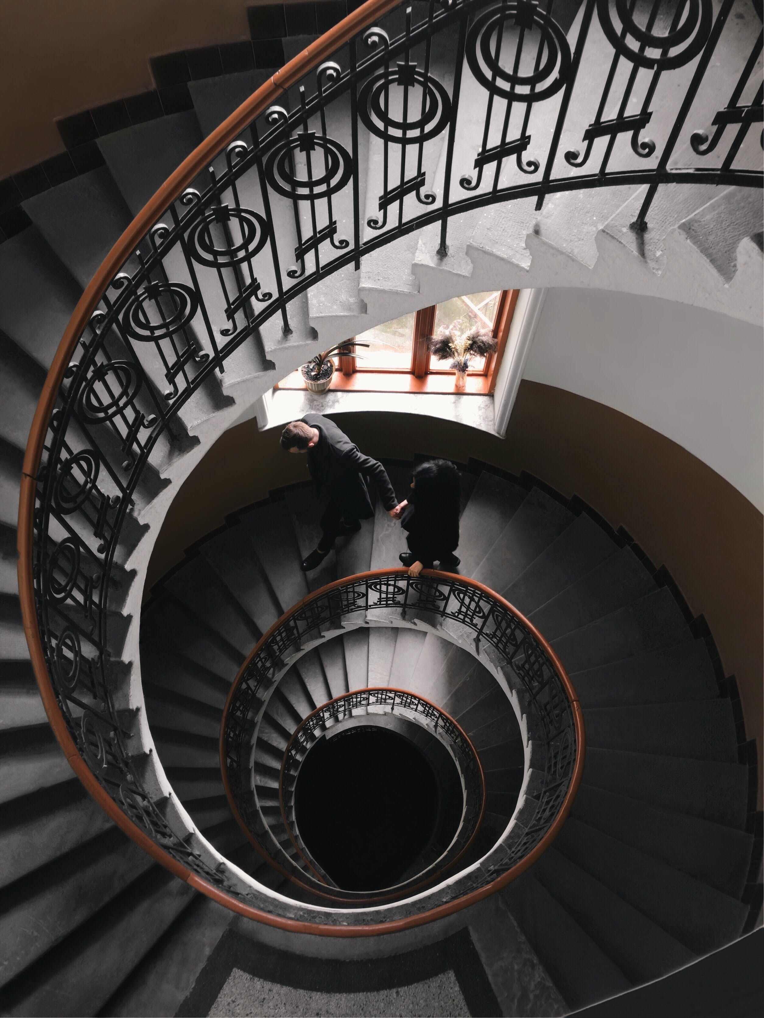 Gray Concrete Spiral Stairs