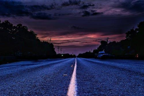 คลังภาพถ่ายฟรี ของ ตะวันลับฟ้า, ถนนลาดยาง, พายุ