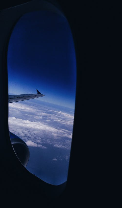 Free stock photo of above, aircraft wings, airplane, blue sky