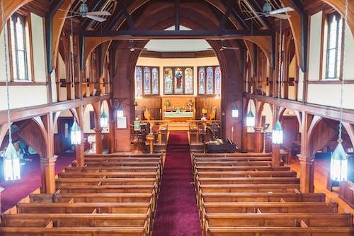High Angle Shot of Church Indoors