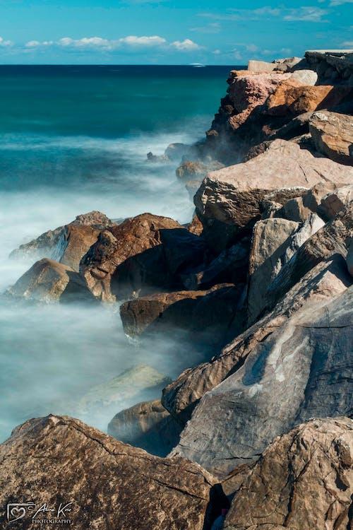 Ilmainen kuvapankkikuva tunnisteilla meren äärellä, pitkä valotusaika