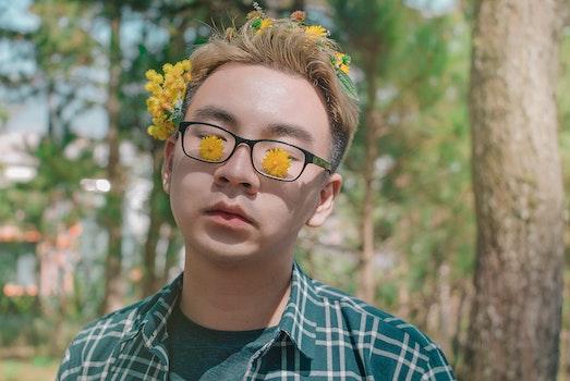 Man Wearing Eyeglasses With Black Frame