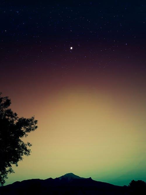 Free stock photo of gradient, half moon, mountain, stars