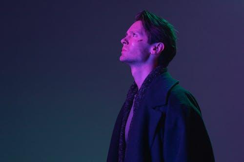 Man in Purple Suit Jacket