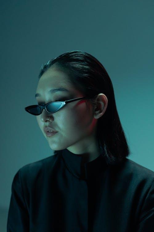 Woman in Black Framed Eyeglasses